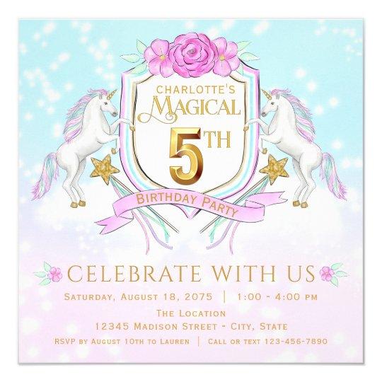 Girls Unicorn 5th Birthday Party Invitations
