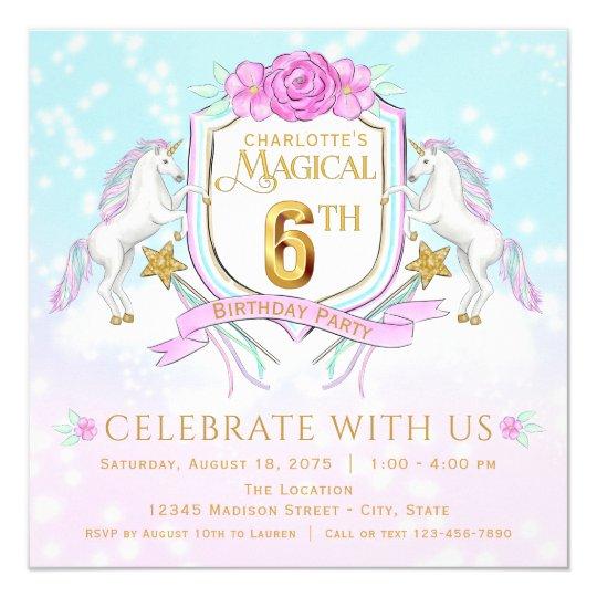 Girls Unicorn 6th Birthday Party Invitations