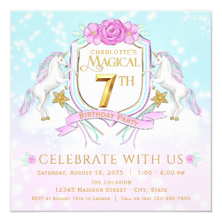 Girls Unicorn 7th Birthday Party Invitations