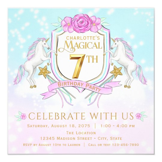 Girls unicorn 7th birthday party invitations zazzle girls unicorn 7th birthday party invitations stopboris Choice Image