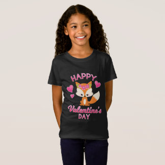 Girls Valentine's Day Fox Shirt