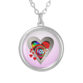 "Girl's""Vibrant Love Heart ""Necklace Silver Plated Necklace"