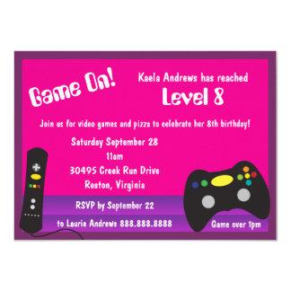Girl's Video Game Truck Birthday Party 11 Cm X 16 Cm Invitation Card