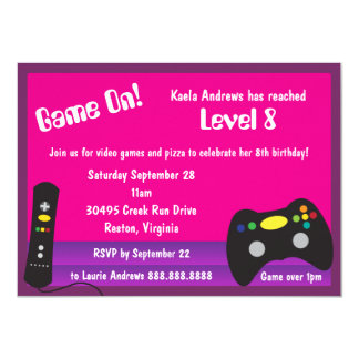 Girl's Video Game Truck Birthday Party 11 Cm X 16 Cm Invitation Card