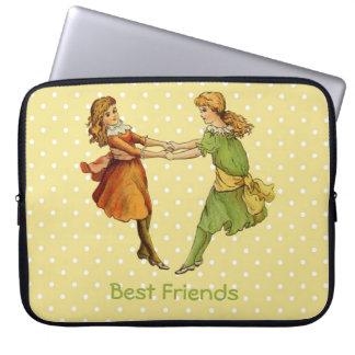Girls Vintage Best Friends Laptop Computer Sleeve