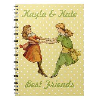 Girls Vintage Best Friends Spiral Notebook