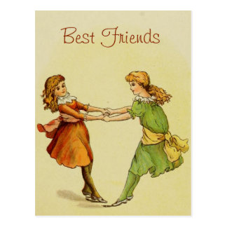 Girls Vintage Best Friends Postcard