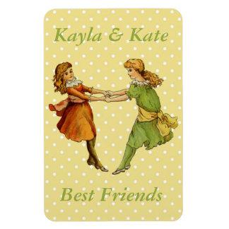 Girls Vintage Best Friends Rectangular Magnet