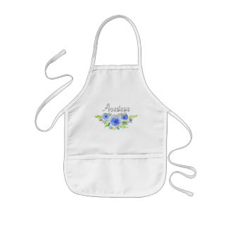 Girl's Vintage Blue Watercolor Flowers with Name Kids Apron