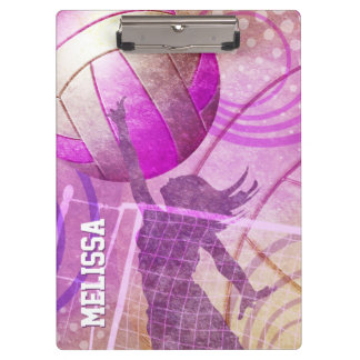 Girls Volleyball Player jumping at the net Clipboards