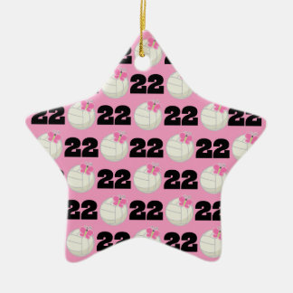 Girls Volleyball Player Uniform Number 22 Ceramic Ornament