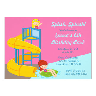 Girls Water Slide Birthday - Water Park Pool Party Card
