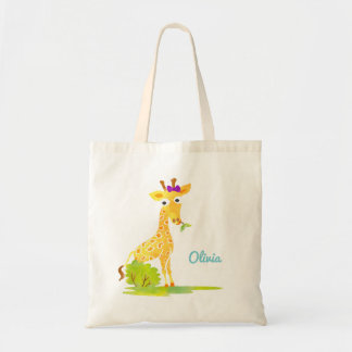 Girls Watercolor Giraffe Personalized Cute Animal Tote Bag
