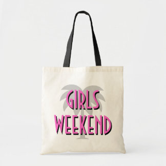 Girls weekend tote bag | Hot pink palm tree design
