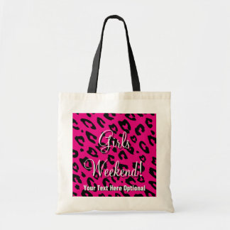 Girls weekend tote bag | pink black leopard print