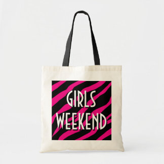 Girls weekend tote bag | pink & black zebra print