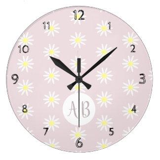 Girl's Whimsical Daisy Flower Pattern Monogram Large Clock