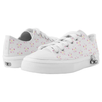 Girl's Whimsical Pink Flower Pattern with Name Low Tops