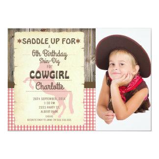 Girls Wild West Horse Photo Birthday Invitation