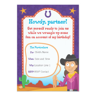 Girl's Wild West Party Invitation