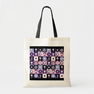 Girls with 45 rpm records budget tote bag