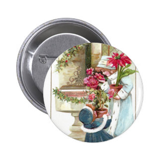 Girls with Potted Plants Vintage Christmas Pin