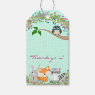 Girls Woodland Baby Shower Favor Gift Tags