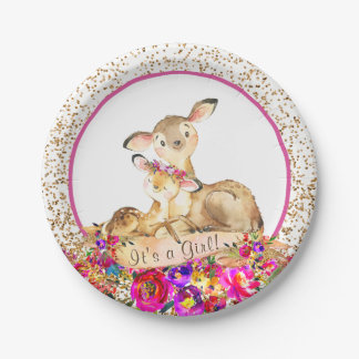 Girls Woodland Deer Baby Shower Paper Plates