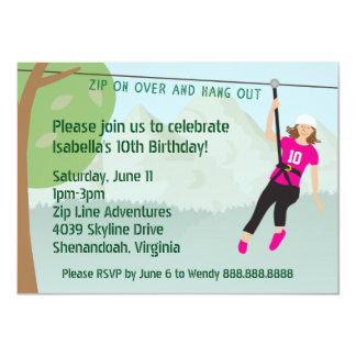 Girls Zip Line Lining Birthday Party Invites