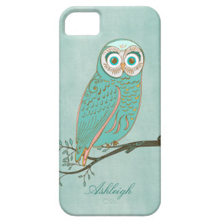 Girly Abstract Modern Teal Green Owl Monogram Barely There iPhone 5 Case