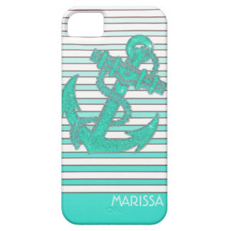 Girly Anchor Nautical Sailing Boat Ombre Stripes iPhone 5 Cover