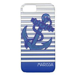 Girly Anchor Nautical Sailing Boat Ombre Stripes iPhone 8/7 Case