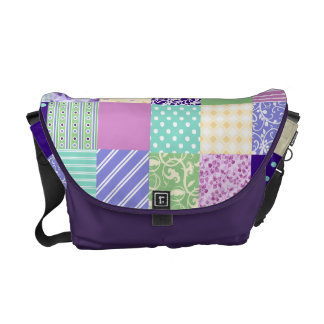 Girly and Fresh Pattern Squares Vector Quilt Commuter Bags