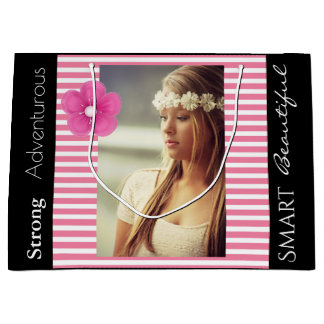 Girly Any Occasion w/Photo & Name Large Gift Bag
