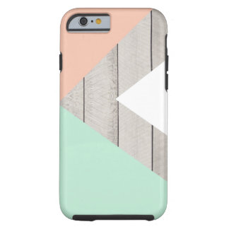 Girly Apricot Teal Gray Wood Modern Color Block Tough iPhone 6 Case