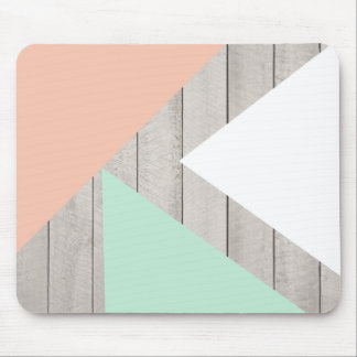 Girly Apricot Teal Gray Wood Modern Color Block Mouse Pad