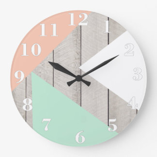 Girly Apricot Teal Gray Wood Modern Color Block Wallclock