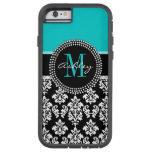 Girly Aqua Black Damask Your Monogram Name Tough Xtreme iPhone 6 Case