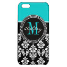 Girly Aqua Black Damask Your Monogram Name Case For iPhone 5C