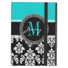 Girly Aqua Black Damask Your Monogram Name Cover For iPad Air