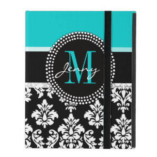 Girly Aqua Black Damask Your Monogram Name iPad Case