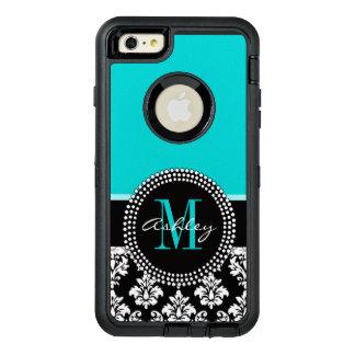 Girly Aqua Black Damask Your Monogram Name OtterBox Defender iPhone Case