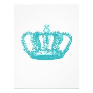 Girly Aqua Blue Vintage Crown 21.5 Cm X 28 Cm Flyer