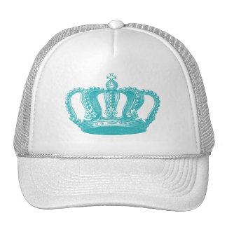 Girly Aqua Blue Vintage Crown Cap