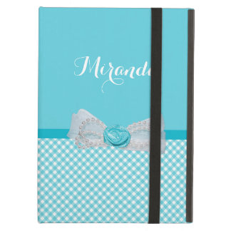 Girly Aqua Gingham Cute Pearls Rose Bow With Name iPad Air Case