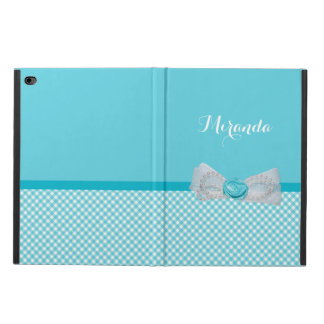 Girly Aqua Gingham Cute Pearls Rose Bow With Name Powis iPad Air 2 Case