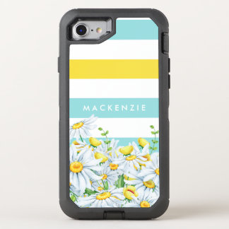 Girly Aqua Stripes With Yellow Daisies and Name OtterBox Defender iPhone 8/7 Case