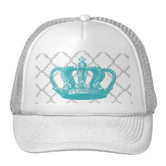 GIRLY AQUA VINTAGE CROWN GREY QUATREFOIL PATTERN CAP