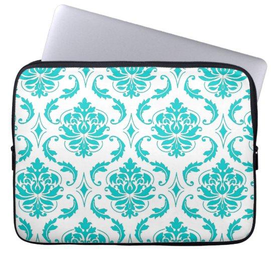Girly Aqua Vintage Damask Pattern Laptop Sleeve