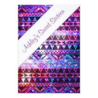 "Girly Aztec Pattern Pink Teal Nebula Sweet 16 3.5"" X 5"" Invitation Card"